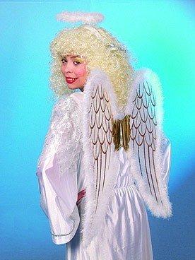 Engel-Set: Flügel, Heiligenschein, weiß-gold - 1