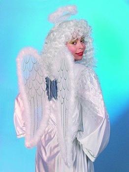 Engel-Set: Flügel, Heiligenschein, weiß-silber - 1