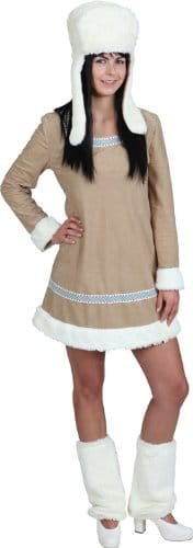 Eskimo-Kostüm: Kleid, beige-braun, Fellabsatz - 1