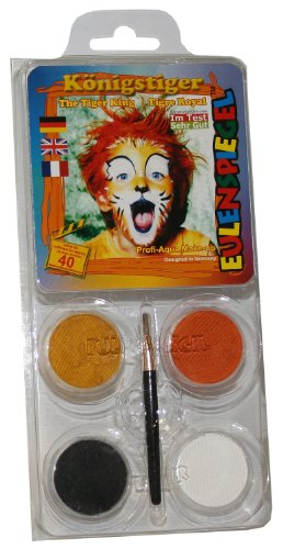 Eulenspiegel Schmink-Set: Schminke, Farben für einen Tiger - 1