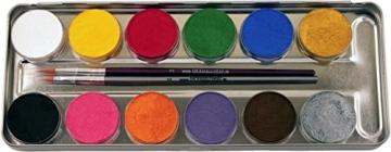 Eulenspiegel Schmink-Set: Schminke mit Pinsel, Metall-Palette, 12 x 5 g - 2