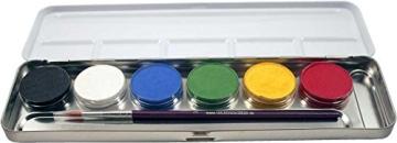 Eulenspiegel Schmink-Set: Schminke mit Pinsel, Metall-Palette, 6 x 5 g - 1