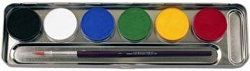 Eulenspiegel Schmink-Set: Schminke mit Pinsel, Metall-Palette, 6 x 5 g - 2