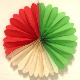 Fächer Grün-Weiß-Rot 50cm, schwer entflammbar - 1