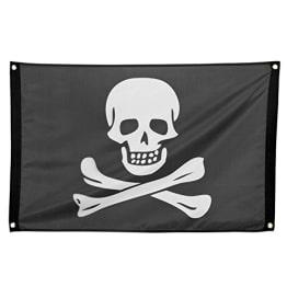 Fahne: Piratenflagge, Stoff, 92 x 60 cm, Metallösen zum Aufhängen - 1