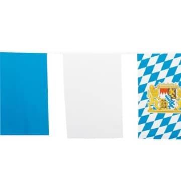 Fahnenkette: hellblau, weiß und Bayern-Fahne, 10 Meter, wetterfest - 1