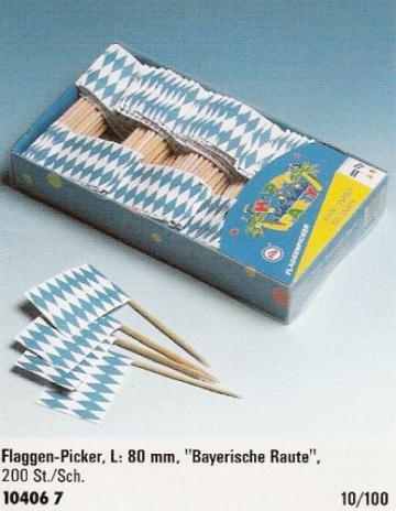 Flaggen-Picker: Bavaria, blau-weiße Rauten, 80 mm, 200er-Pack - 1