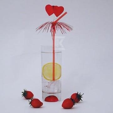 Flexhalme: Amore mit Palmwedel und Herzen, 24 cm, 50 Stück im Schaukasten - 1