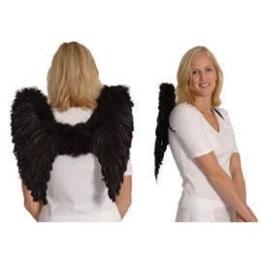 Flügel aus echten Federn, schwarz, 40 cm - 1