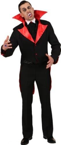 Frack: Dracula-Frack, hochgestellter Kragen, schwarz-rot - 1