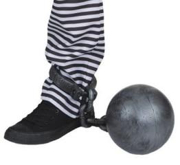 Fußfessel: Fußschelle mit Sträflingskugel - 1
