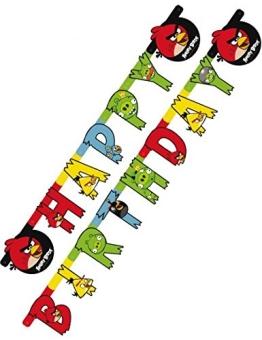 """Geburtstagskette: Partykette, """"Angry Birds"""", Schriftzug Happy Birthday, 180 x 15 cm - 1"""