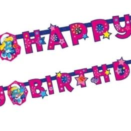 """Geburtstagskette: Partykette, """"Schlumpfine"""", mit Schriftzug """"Happy Birthday"""" - 1"""