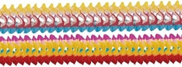 Girlande: 2 m x 8 cm, gefärbte Ränder, bunt gemischt, 4 Stück - 1