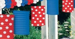 Girlande: Laternengirlande USA, blau-weiß-rot, 365 cm - 1