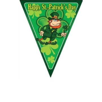 Girlande Wimpelkette Happy St. Patrick´s Day Irish Party Glücks Kleeblatt Deko - 1