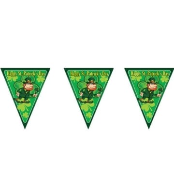 Girlande Wimpelkette Happy St. Patrick´s Day Irish Party Glücks Kleeblatt Deko - 2