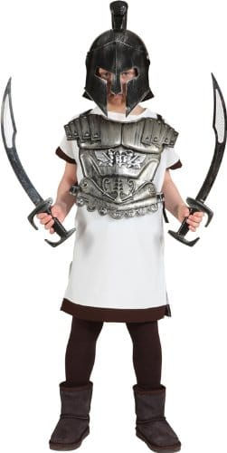 Gladiator-Kostüm: Helm, silber, Kindergröße - 1