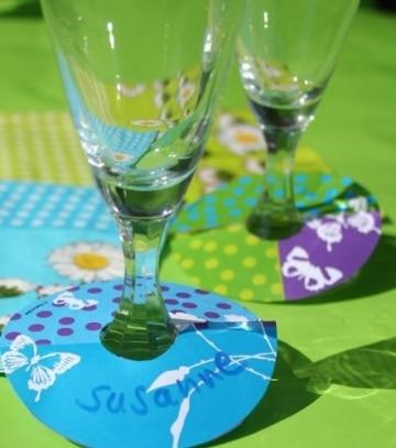 Glasmarker, Sommermotiv Daisy, bunt, 8 cm, 36 Stück - 1
