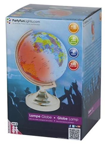 Globus: Weltkugel, beleuchtet, Farbwechsel-LEDs, 20 cm Durchmesser, 31 cm Höhe - 1