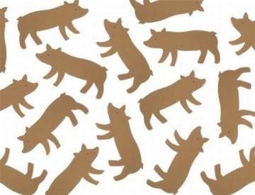 Glücksbringer: Streu-Deko, Glücksschwein, Holz, 10 Stück - 1