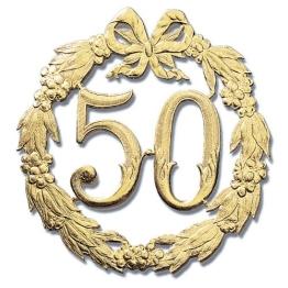 Goldene Jubiläumszahl 50, 24 cm Durchmesser, ohne Draht - 1