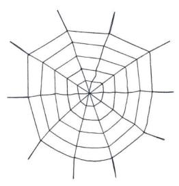 Grusel-Dekoration: Spinnennetz, lila, 1 m Durchmesser - 1