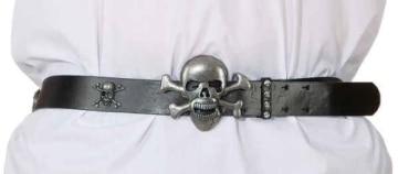 Gürtel: Totenkopf-Motiv mit Schnalle, 120 cm - 1