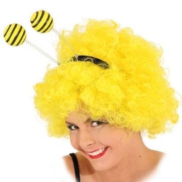 Haarreif: Bienen-Haarreif, gelbe Fühler mit großen Bommeln - 1