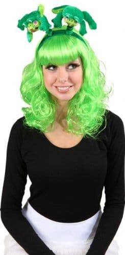 Haarreif, grün, mit Fröschen - 1