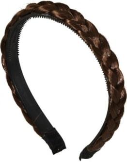 Haarreif, mit geflochtenem Zopf, braun - 1