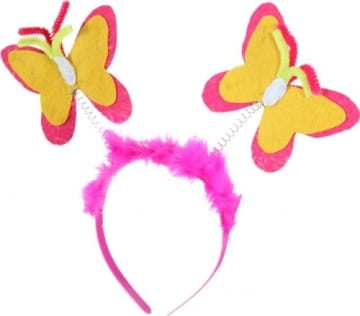 Haarreif, pink, mit Schmetterlingen - 1