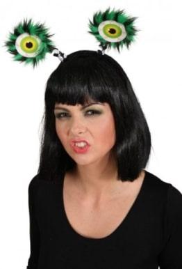Haarreif, schwarz, mit grün-schwarzen Monsteraugen - 1