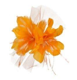 Haarschmuck: Ansteckteil, orange, weißer Tüll - 1