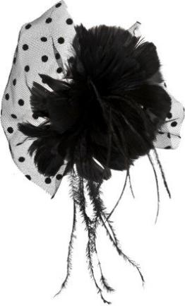Haarschmuck: Ansteckteil, schwarz, gepunkteter Tüll - 1