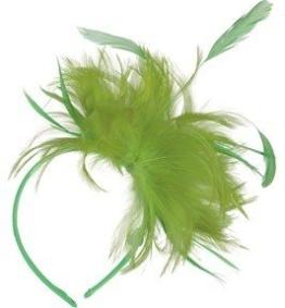 Haarschmuck: Haarreif, mit Federn, neongrün - 1