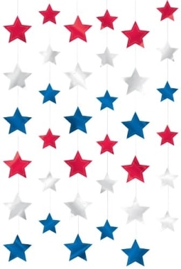 Hängedeko: Deckenhänger mit Sternen in USA-Farben, 210 cm, 6er-Pack - 1