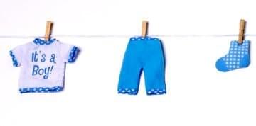 Hängedeko: Wäscheleine mit Baby-Motiven, hellblau, 7-teilig, 1,2 m Länge - 1