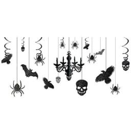 Halloween Deckenhänger-Set Schwarz-Glitzer 17-tlg. - 1