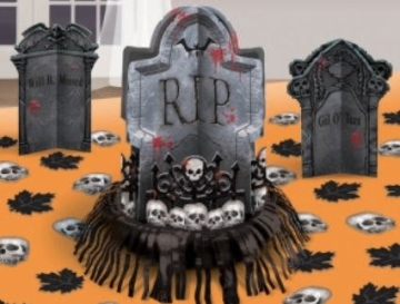 Halloween-Set: Tischdeko, Grabsteine mit Streudeko, 27 Teile - 1