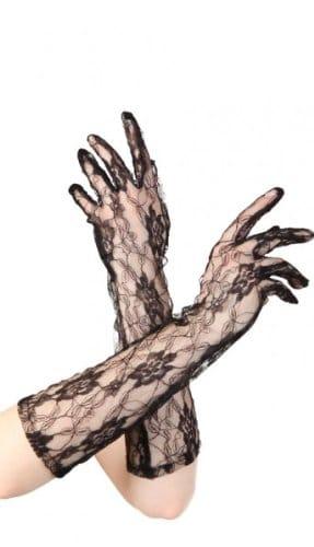 Handschuhe: Madonna-Handschuhe, Netz, 37 cm, schwarz - 1