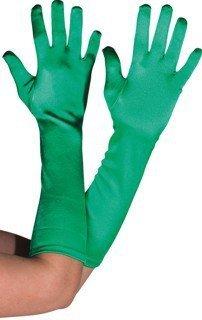 Handschuhe, Satin, dunkelgrün, 40 cm - 1