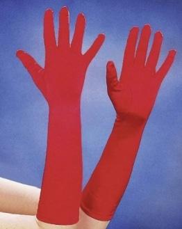 Handschuhe, Satin, rot, 40 cm - 1