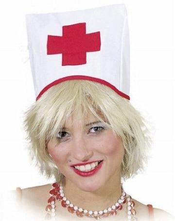 Haube: Krankenschwester-Haube, weiß, rotes Kreuz - 1