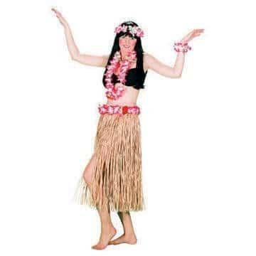 Hawaii-Set: Bastrock mit Blüten, 80 cm, Hulakette, Armband, Stirnband - 1