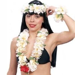 Hawaii-Set deluxe: Blumen-Kette, Kopfband, Armband, creme-gelb - 1