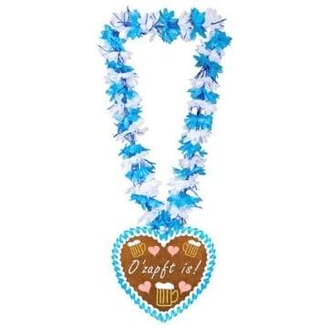 """Hawaiikette, blau-weiß, Lebkuchenherz, """"O'zapft is!"""", Anhänger aus Pappe - 1"""