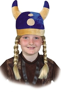 Helm: Wikingermütze, mit Hörnern, blau, Stoff, Kindergröße - 1