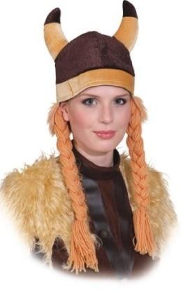 Helm: Wikingermütze, mit Hörnern und Zöpfen, braun, Stoff, Einheitsgröße - 1