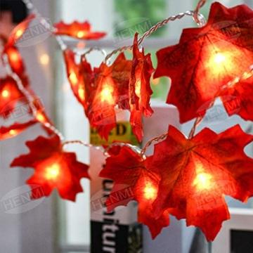 Herbstdeko Ahornblätter Lichterkette LED Blättergirlande 2
